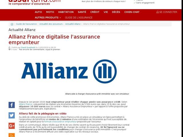 Allianz France digitalise l'assurance emprunteur