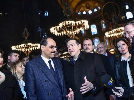 Turquie: Tsipras en visite à la basilique Sainte-Sophie à Istanbul