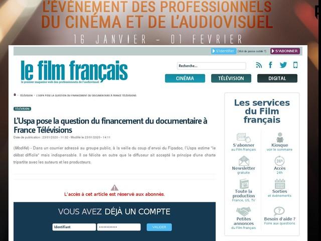 L'Uspa pose la question du financement du documentaire à France Télévisions