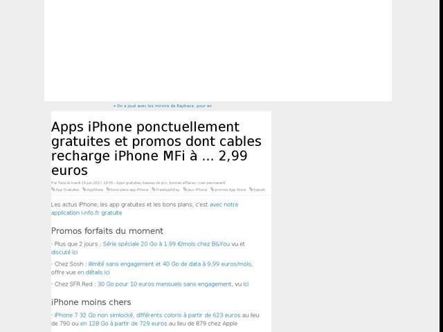 Apps iPhone ponctuellement gratuites et promos dont cables recharge iPhone MFi à ... 2,99 euros