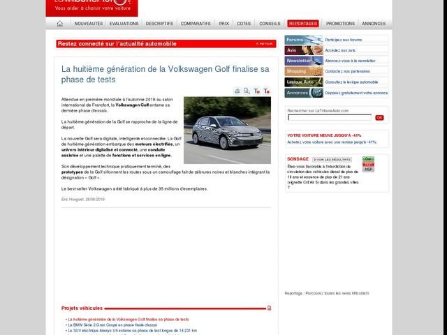 La huitième génération de la Volkswagen Golf finalise sa phase de tests