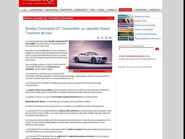 Bentley Continental GT Convertible: un cabriolet Grand Tourisme de luxe