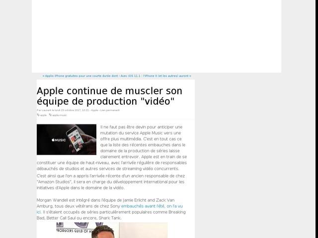 """Apple continue de muscler son équipe de production """"vidéo"""""""