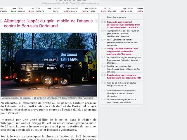 Allemagne: l'appât du gain, mobile de l'attaque contre le Borussia Dortmund