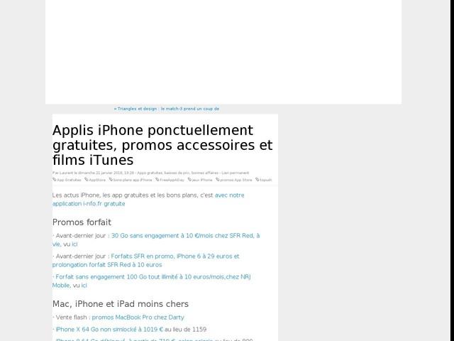 Applis iPhone ponctuellement gratuites, promos accessoires et films iTunes
