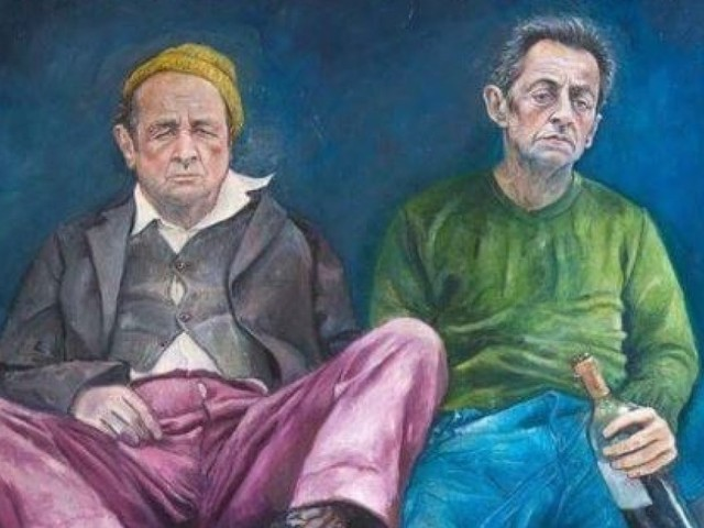 Nicolas Sarkozy et François Hollande imaginés en réfugiés par l'artiste Abdalla al Omari