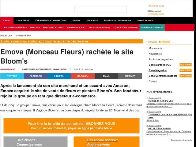 Emova (Monceau Fleurs) rachète le site Bloom's
