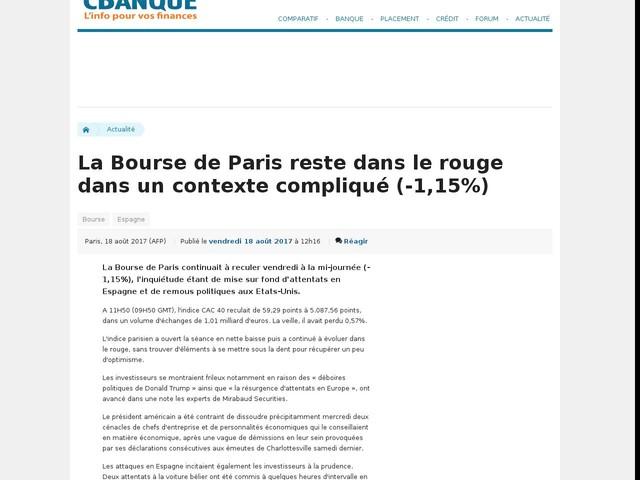 La Bourse de Paris reste dans le rouge dans un contexte compliqué (-1,15%)