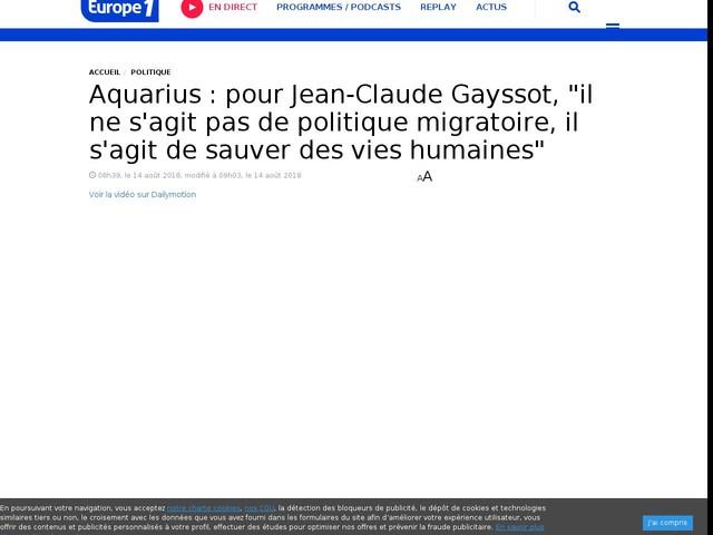 """Aquarius : pour Jean-Claude Gayssot, """"il ne s'agit pas de politique migratoire, il s'agit de sauver des vies humaines"""""""