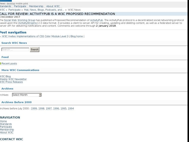 Call for Review: ActivityPub is a W3C Proposed Recommendation