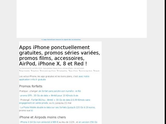 Apps iPhone ponctuellement gratuites, promos séries variées, promos films, accessoires, AirPod, iPhone X, 8 et Red !