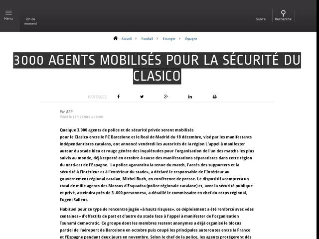 Football - Etranger - 3000 agents mobilisés pour la sécurité du Clasico