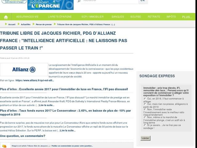 """Tribune libre de Jacques Richier, PDG d'Allianz France : """"Intelligence Artificielle : ne laissons pas passer le train !"""""""