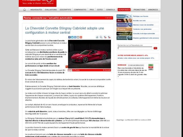 La Chevrolet Corvette Stingray Cabriolet adopte une configuration à moteur central