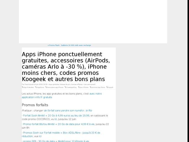 Apps iPhone ponctuellement gratuites, accessoires (AirPods, caméras Arlo à -30 %), iPhone moins chers, codes promos Koogeek et autres bons plans