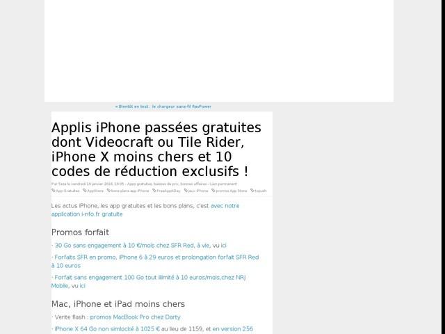 Applis iPhone passées gratuites dont Videocraft ou Tile Rider, iPhone X moins chers et 10 codes de réduction exclusifs !