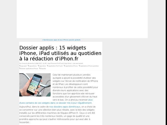 Dossier applis : 15 widgets iPhone, iPad utilisés au quotidien à la rédaction d'iPhon.fr