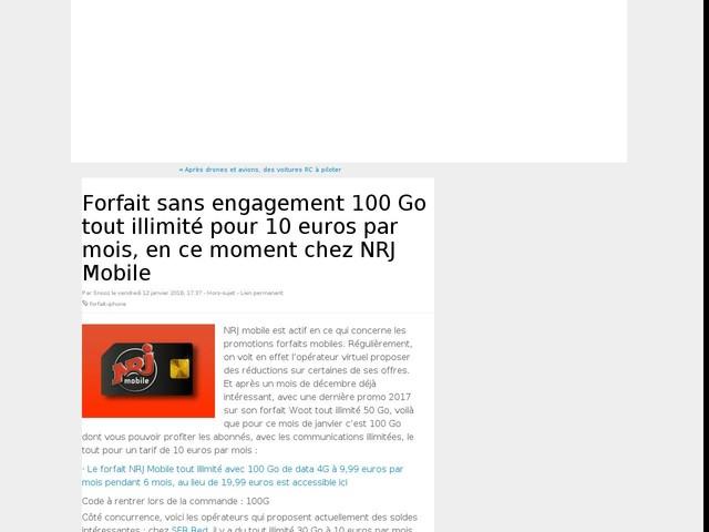 Forfait sans engagement 100 Go tout illimité pour 10 euros par mois, en ce moment chez NRJ Mobile