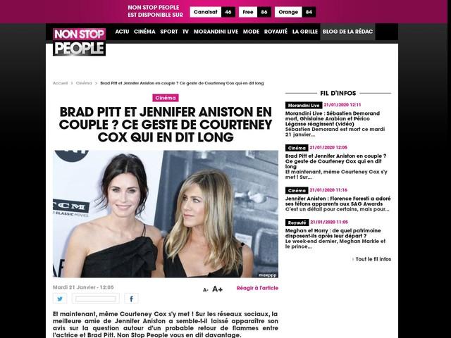 Brad Pitt et Jennifer Aniston en couple ? Ce geste de Courteney Cox qui en dit long