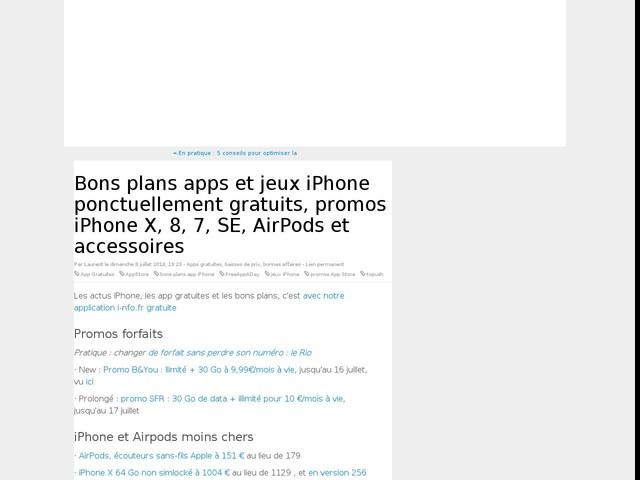 Bons plans apps et jeux iPhone ponctuellement gratuits, promos iPhone X, 8, 7, SE, AirPods et accessoires