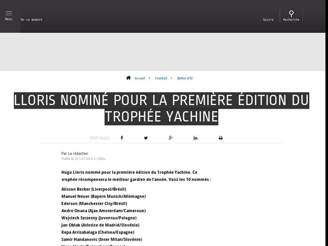 Football - Ballon d'Or - Lloris nominé pour la première édition du Trophée Yachine