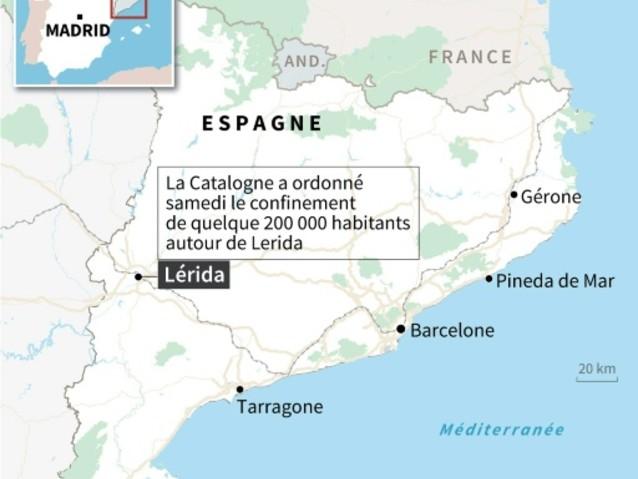 Coronavirus: la Catalogne confine quelque 200.000 personnes