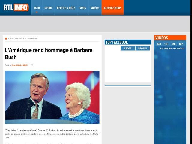 L'Amérique rend hommage à Barbara Bush