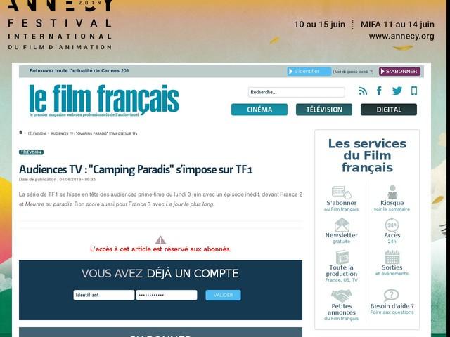 """Audiences TV : """"Camping Paradis"""" s'impose sur TF1"""