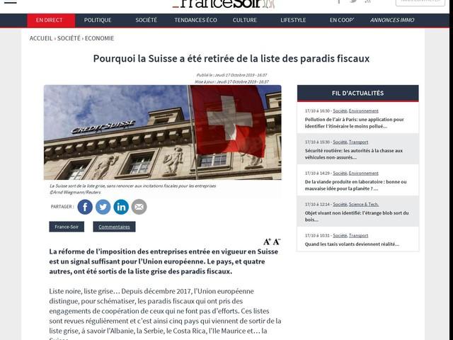 Pourquoi la Suisse a été retirée de la liste des paradis fiscaux