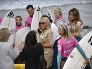 """Surf et protection des océans au menu des """"premières dames"""" à Biarritz"""
