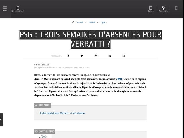 Football - Ligue 1 - PSG : trois semaines d'absences pour Verratti ?