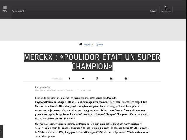 Cyclisme - Merckx : «Poulidor était un super champion»