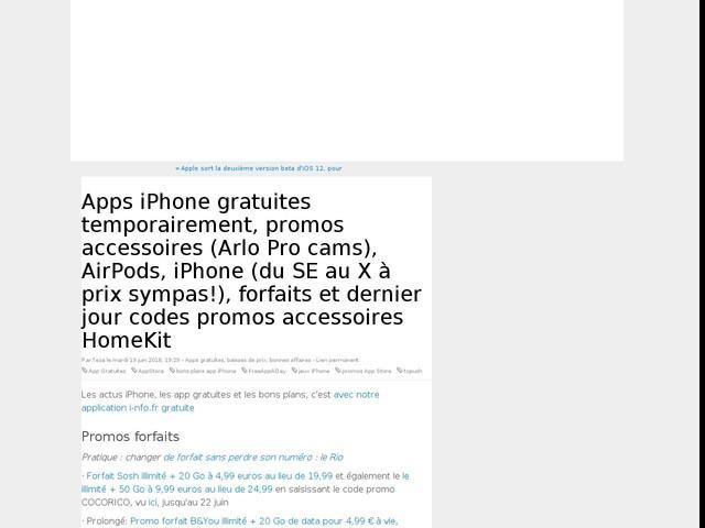 Apps iPhone gratuites temporairement, promos accessoires (Arlo Pro cams), AirPods, iPhone (du SE au X à prix sympas!), forfaits et dernier jour codes promos accessoires HomeKit