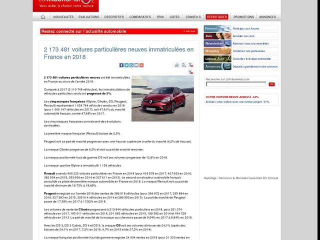 2 173 481 voitures particulières neuves immatriculées en France en 2018