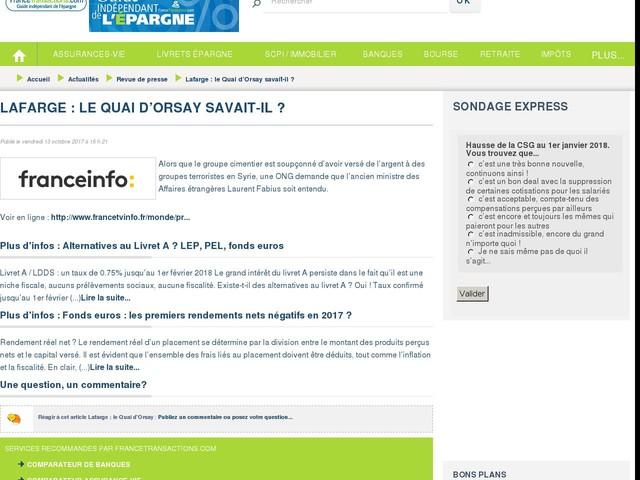 Lafarge : le Quai d'Orsay savait-il ?
