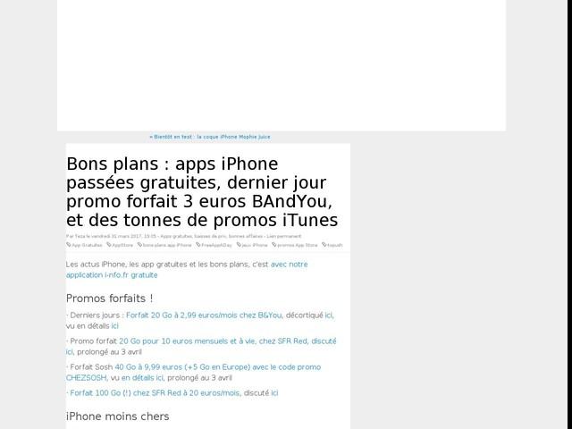 Bons plans : apps iPhone passées gratuites, dernier jour promo forfait 3 euros BAndYou, et des tonnes de promos iTunes