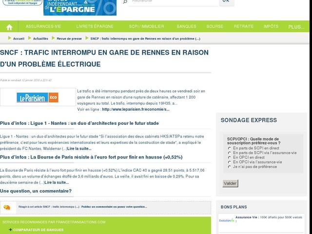 SNCF : trafic interrompu en gare de Rennes en raison d'un problème électrique