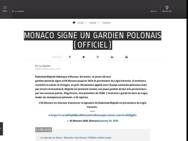 Football - Transferts - Monaco signe un gardien polonais (officiel)