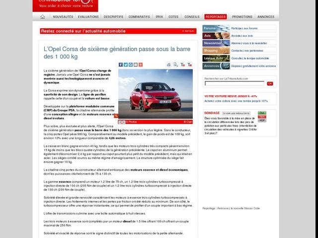L'Opel Corsa de sixième génération passe sous la barre des 1 000 kg