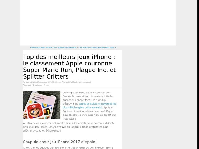 Top des meilleurs jeux iPhone : le classement Apple couronne Super Mario Run, Plague Inc. et Splitter Critters