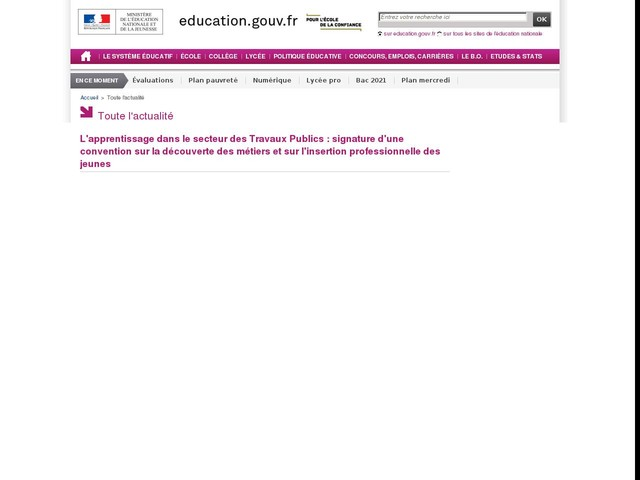 Signature d'une convention sur l'apprentissage dans le secteur des Travaux Publics - actu en images
