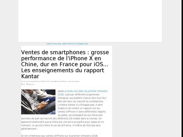 Ventes de smartphones : grosse performance de l'iPhone X en Chine, dur en France pour iOS... Les enseignements du rapport Kantar