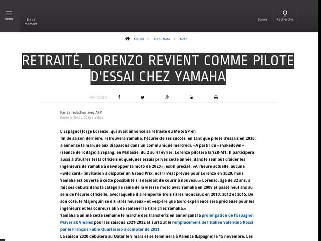 Auto/Moto - Retraité, Lorenzo revient comme pilote d'essai chez Yamaha