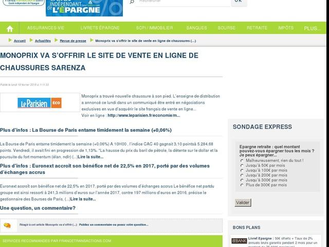 Monoprix va s'offrir le site de vente en ligne de chaussures Sarenza
