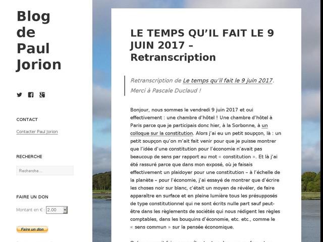 LE TEMPS QU'IL FAIT LE 9 JUIN 2017 – Retranscription