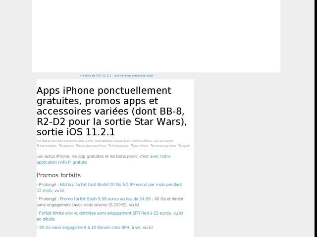 Apps iPhone ponctuellement gratuites, promos apps et accessoires variées (dont BB-8, R2-D2 pour la sortie Star Wars), sortie iOS 11.2.1