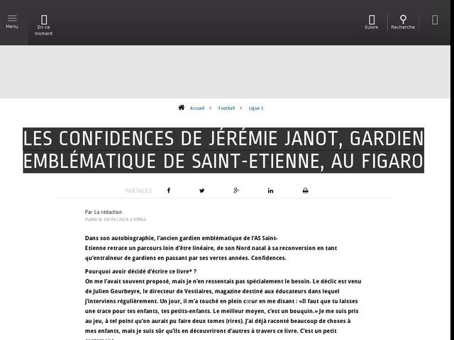 Football - Ligue 1 - Les confidences de Jérémie Janot, gardien emblématique de Saint-Etienne, au Figaro