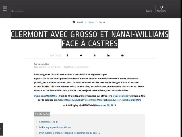 Rugby - Top 14 - Clermont avec Grosso et Nanai-Williams face à Castres
