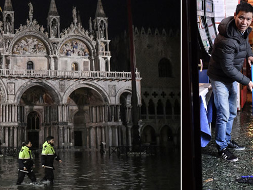 """Venise touchée par une marée haute HISTORIQUE: """"Nous avons besoin que tout le monde nous aide à faire face"""" (photos)"""