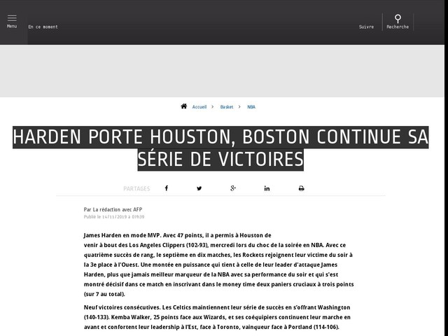 Basket - NBA - Harden porte Houston, Boston continue sa série de victoires